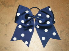 "NEW ""POLKA-DOT NAVY BLUE"" Cheer Bow Pony Tail 3"" Ribbon Girls Hair Cheerleading"