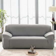 Pure Colors Poly / Plush 1 2 3 4 Seater Stretch Elastic Sofa Couch Slip Covers