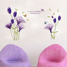 Love Lily Flower Vinyl Decal Purple Wall Sticker Art Quote Home Removable Decor