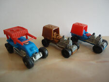 Vintage Rare Kinder Surprise Toy LOT X 3 Dragster with Metal Base from 1981
