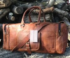 NEW HAND-CRAFTED SHABBY CHIC TRAVEL LEATHER WEEKEND BAG HOLDALL OVERNIGHT TAN
