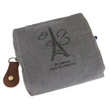 Women Vintage Canvas Grey Tower Cloth Purse Wallet Key Coin Bag Pouch Case CA