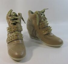 """Brown gold spike 3"""" wedge heel round toe ankle boot. front Velcro strap size   7"""
