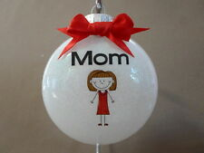 "UNIQUE Handmade ""Mom"" 3"" Round Glass Christmas Ornament~Made In The USA!, NEW!"