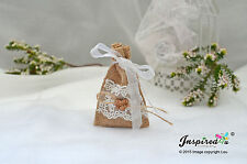 Hessian Mini Favor Bags 25 x Wedding Wooden Love Heart Organza Ribbon Bow Lace