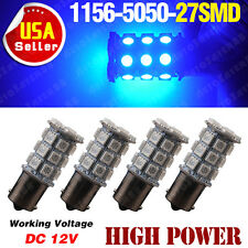 4Pcs Ultra Blue 1156 BA15S 5050 27-SMD Backup Reverse LED Light Bulbs 1141 1073