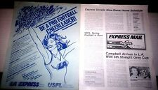 "USFL LA EXPRESS ""Express Mail"" #1 News Letter & Cheerleader Audition Flyer 1982"