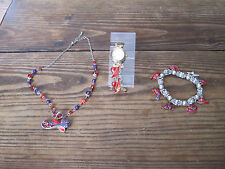 RED HAT  FASHION JEWERY WATCH & NECKLACE & BRACELACE