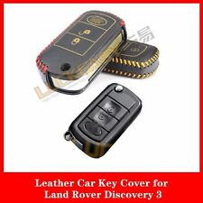 Genuine Leather Remote Car Key Case Cover Key Holder For Land Rover Discovery 3