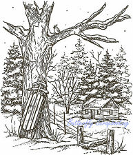 Winter Sled Tree & Cabin Scene Wood Mounted Rubber Stamp NORTHWOODS P1855 New