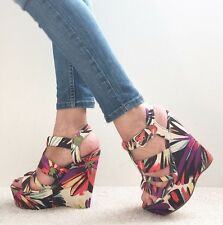 RIVER ISLAND Purple Red Blue Floral Strappy Platform Wedges Size 6 / 39