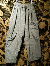 OSFA OVERSIZED PIRATE STRIPE TICKING COTTON GREY TROUSERS PANTS POCKET LAGENLOOK