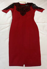 BNWT LYDIA BRIGHT @ LIPSTICK BOUTIQUE UK 8 EUR 36 RASPBERRY & BLACK LACE DRESS