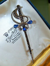 VINTAGE JEWELLERY STAMPED SILVER MARCASITE & SAPPHIRE GLASS SWORD BROOCH PIN