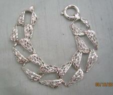 "DOBBS ITALIAN STERLING SILVER 1"" WIDE FILIGREE FANCY LINK 7 1/2"" BRACELET"
