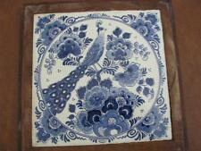 Dutch Hot Plate Delft's Blauw Holland Trivet With Peacock and Flowers