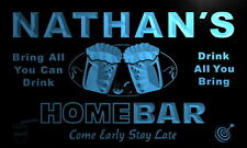 p108-b Nathan's Personalized Home Bar Beer Family Name Neon Light Sign
