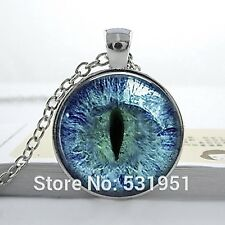 Glass Dome Cabochon Pendant Chain NECKLACE Gothic Steampunk: Cat Dragon Eye Blue