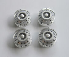 4x Silver w/ Black Number LP Guitar Control Knobs Speed Dial Knob for Les Paul