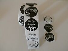 100 THANK YOU STICKERS - WHITE & BLACK ELEGANT WEDDING PARTY FAVORS SEALS LABELS