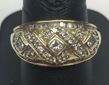 Vintage 14K Yellow Gold Round - Princess 1.22 CTW Diamond Band Statement Ring