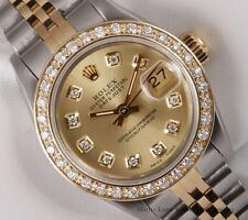 Rolex Lady Datejust Two Tone 18k Gold -Champagne Diamond Dial-Diamond Bezel-26mm