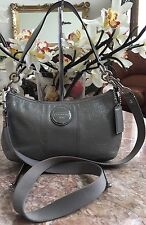 Coach F15141 Signature Patent Leather Gray Cross-body Messenger Shoulder Handbg