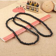 "Plain Wood Beads Black Necklace 28"" Long Hip-Hop Rosary Beaded Necklace Chain"