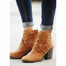 NEW Free People Carrera Heeled Boots Leather Woven Zip Back Size 39 / 8.5 Ankle