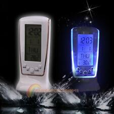 New LCD Digital Alarm Clock Calendar Thermometer Blue LED Backlight Clock Snooze