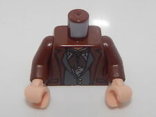 Lego Torso PotC Jacket over Vest with Buttons and Dark Brown Scarf Pattern #43