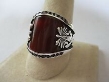 Gorgeous Islamic style sterling silver Carnelian men's ring 925 new style sz 8.5