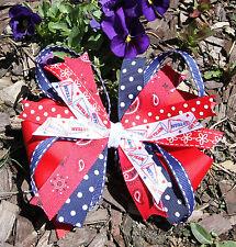 Red Spirit Polka Dot Cheer Pinwheel Hair Bow for Girl's