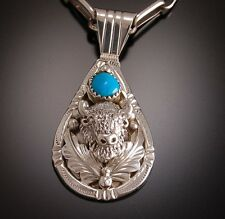 Auction* Silver and Turquoise  SACRED BUFFALO  Pendant ~ classic Navajo Handmade