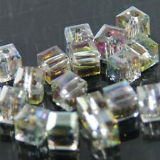30pcs 4mm Swarovski cube crystal beads C rose-green