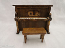 Dollhouse Miniature Furniture Wooden Upright Piano and Bench