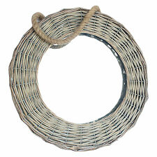 Round Natural Wicker Mirror With Hanging Rope Wall Hanging