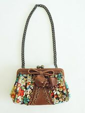 Isabella Fiore Purse Handbag Coin Clutch Floral Morning Dew Canvas Tan Leather