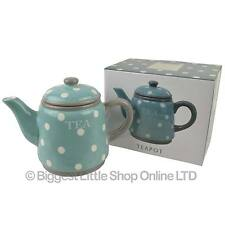 NEW Aqua Polka Dot Ceramic Tea Pot by Leonardo Gift Boxed Kitchen Hand Painted