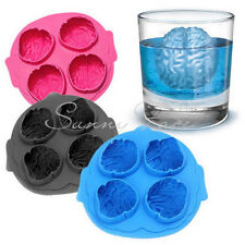 Scary 3D Silicone Ice Cube Maker Jelly Mold Brain Shape Drinking Hot Selling っ