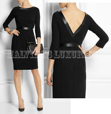 $1,650 GUCCI DRESS LEATHER TRIMMED STRETCH CREPE DEEP V-BACK sz L Large