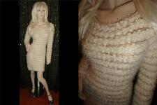 CANDY COUTURE LUXURY FUZZY SOFT KNIT CREAM STRIPED SEQUIN SWEATER DRESS SIZE M