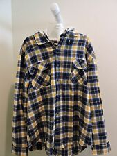 NWT-$85 Vintage 100% Cotton Multi-Color Plaid Hooded Buttoned Shirt Size - XL *