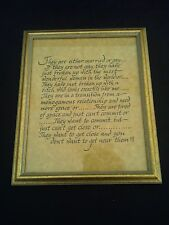 """GOLD GILT PICTURE FRAME WITH HAND CALIGRAPHY QUOTE FROM """"THE BIG CHILL""""!!!"""