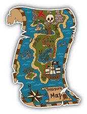 Pirate Map of Treasure Island Car Bumper Sticker Decal 4'' x 5''