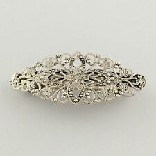 2pcs DIY Iron Filigree Hair Barrette Brass Flower Updo Hair Clip Antique Silver