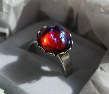 Dragons Breath, Mexican Fire opal ring set in lace. round 11m, Sterling Silver