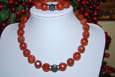 BEAUTIFUL LARGE BOLD CHUNKY NECKLACE & BRACELET SET OF LARGE ACRYLIC AMBER BEADS
