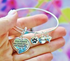 Dog Mom Memorial Expandable Wire Bangle Bracelet Sterling Silver Pltd Charms