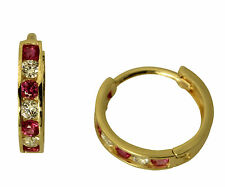 14K Yellow Gold 2mm Thick 7 stone Red CZ Polished Hoop Huggies Earrings
